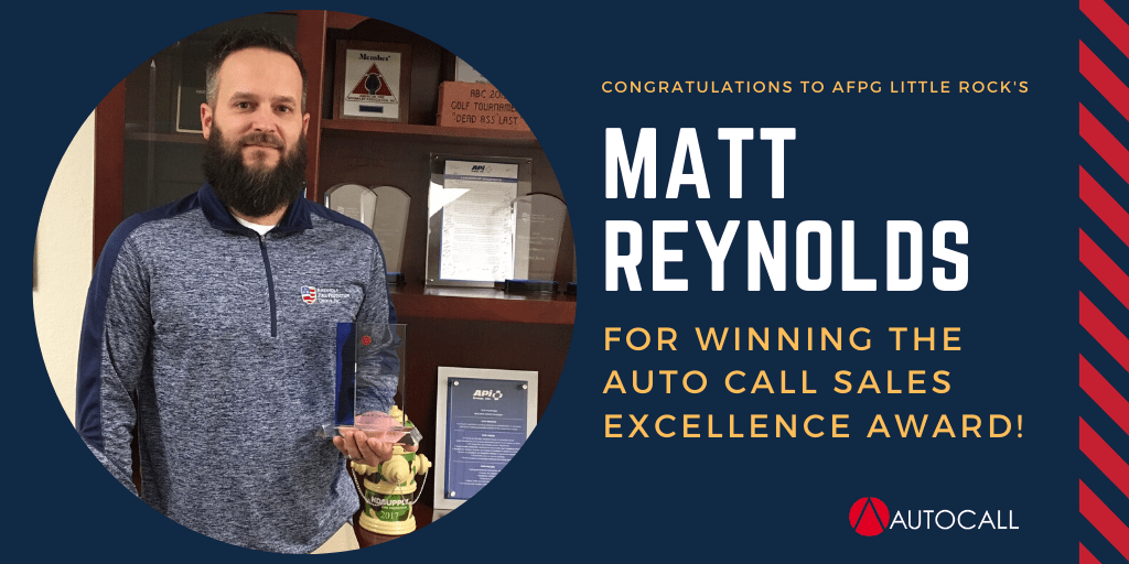 AFPG Little Rock's Matt Reynolds Wins Autocall's Fire Alarm Sales Excellence Award