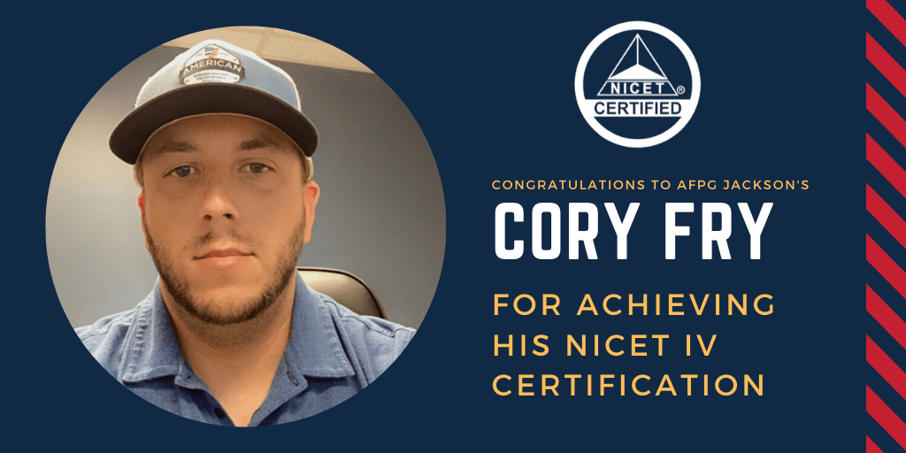 AFPG Jackson's Cory Fry Achieves NICET IV Certification